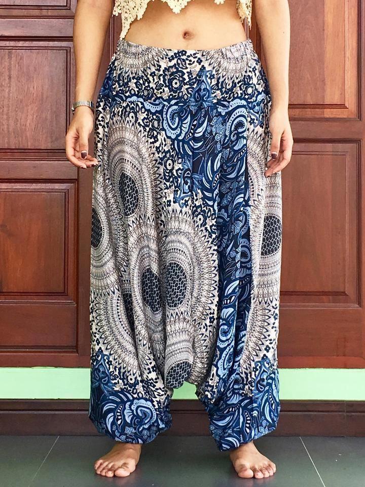 9226493932d Plus Size Unisex balloon blue harem cargo pants summer Aladdin elastic  trousers mens - best harem