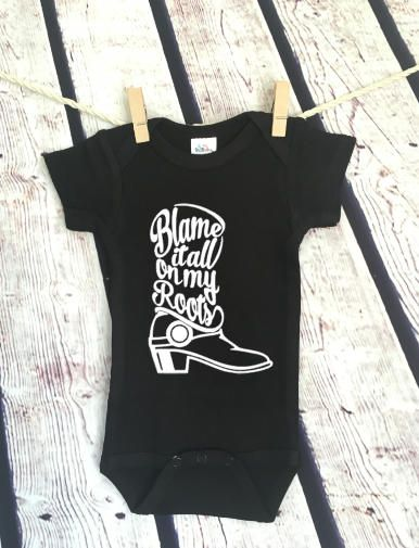 Blame it All on my Roots Garth Brooks Country Boot Pop Culture Hipster Cute Funny Adorable Baby Onesie Romper Gift Free ShippingAdorable Customizable Baby Girl or Boy Onesies Bodysuit- Funny Onesies Bodysuit- Baby Bodysuit Great baby shower gift for a new baby Heat transfer vinyl is used for the design and it is applied with a commercial grade press. We use Laughing Giraffe Cotton Blend Onesies or Bodysuits