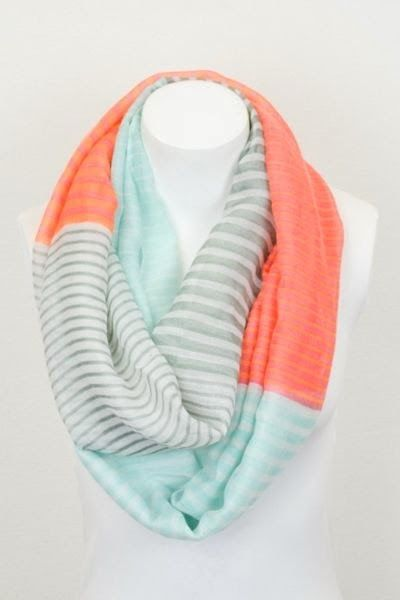 Orange Pashmina Infinity Scarf with Pastel Stripes and Color Blocking