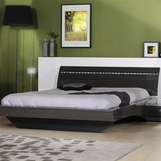 Arco High Gloss King Size Bed With LED Lighting
