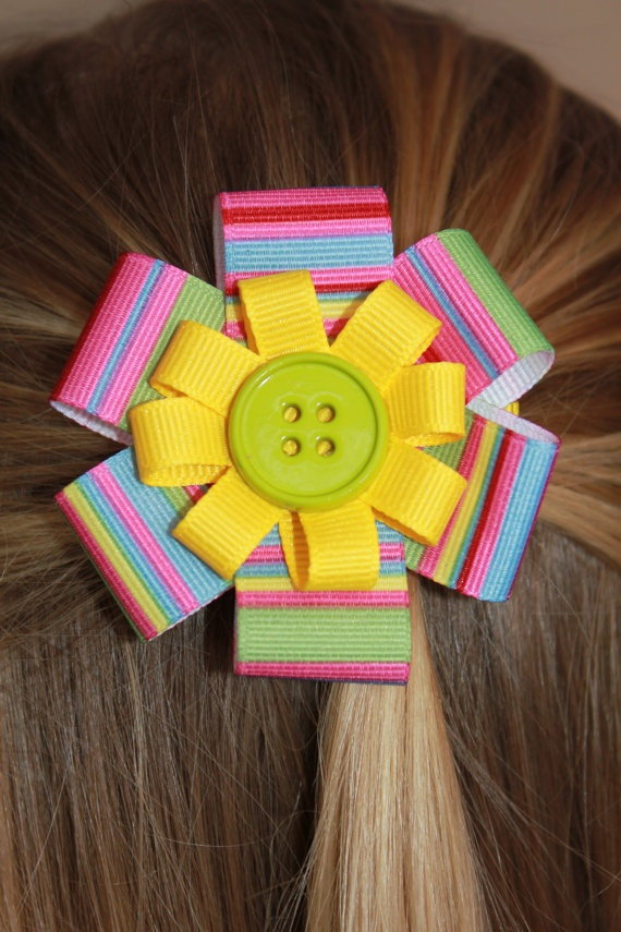Hair BowBright Striped Yellow with Lime by marimaricollection, $5.00