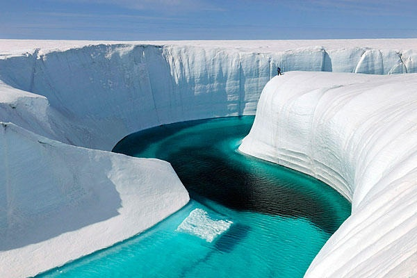 Are polar ice sheets shrinking? Report offers definitive answer at last. Pictured is the meltwater flow through Greenland's Birthday Canyon.  According to this report, Greenland is losing 5x  as much ice annually as it did in the 1990's - CSMonitor.com