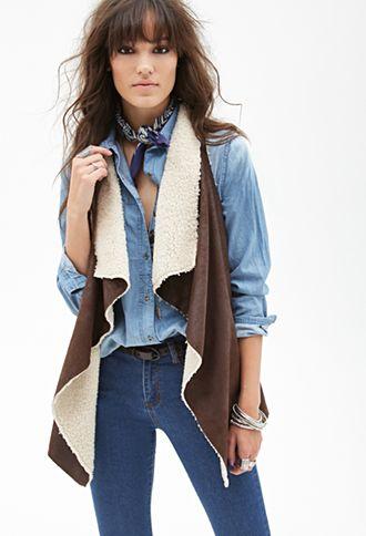 Faux Suede & Faux Shearling Vest | FOREVER21 - 2000118080