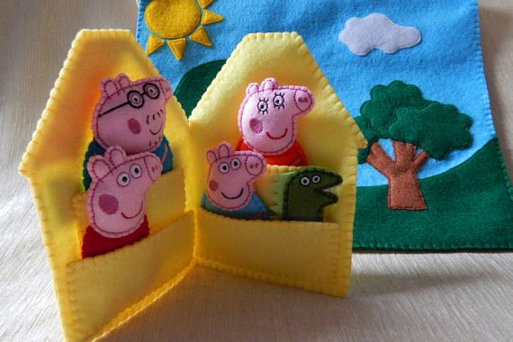Peppa Pig finger puppet play set. Gift. Peppa Pig toys.