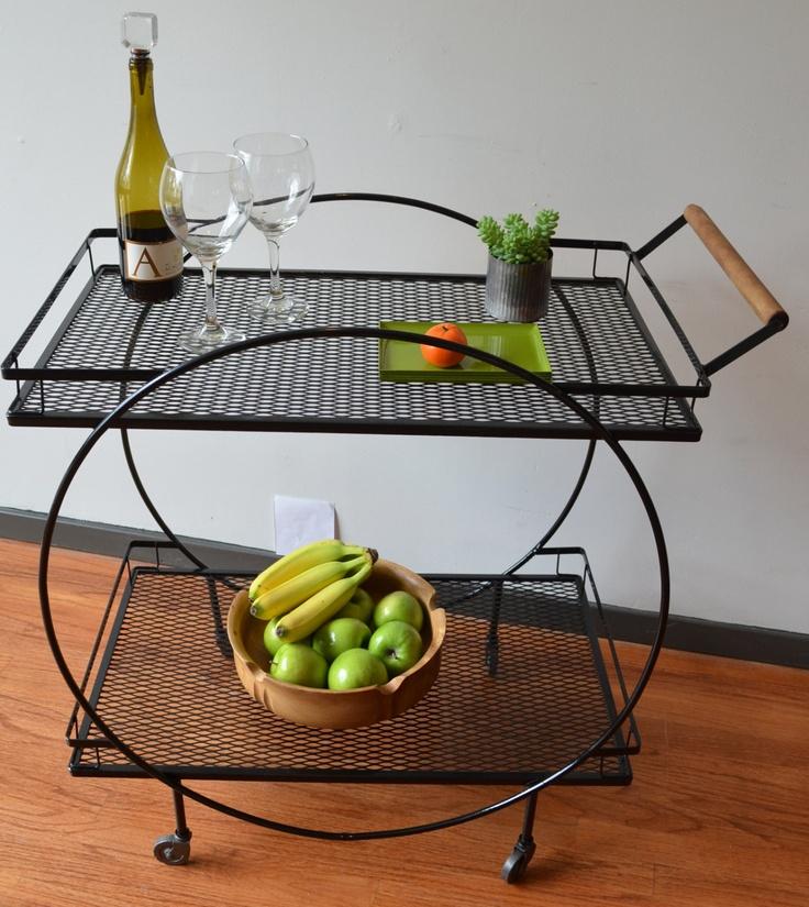 Salterini Style Art Deco Iron Serving Cart.