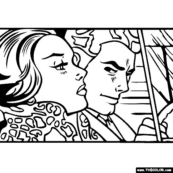 100% free coloring page of Roy Lichtenstein painting - In the Car. You be the master painter! Color this famous painting and many more! You can save your colored pictures, print them and send them to family and friends!