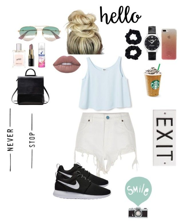 """""""casual hangout"""" by dindameitiza on Polyvore featuring River Island, NIKE, Gucci, Accessorize, Coach, Bobbi Brown Cosmetics, philosophy, Kate Spade and Seventy Tree"""
