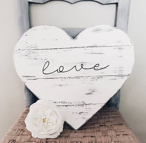 Love Farmhouse Wood Heart Decor Painted White Lettering Is Black Distressed And Sealed Size Approx Rustic Valentine Decor Wood Heart Sign Rustic Valentine