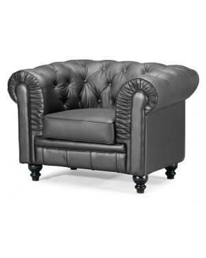 ZUO 900100 ARISTOCRAT Modern Twist To Classic Look Black Button Tufted Wide Rolled Arm Accent Chair