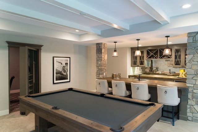 Real Fit Housewife: Welcome to my Home: Our Little Slice of Heaven  bar stone columns brunswick pool table secret room poker