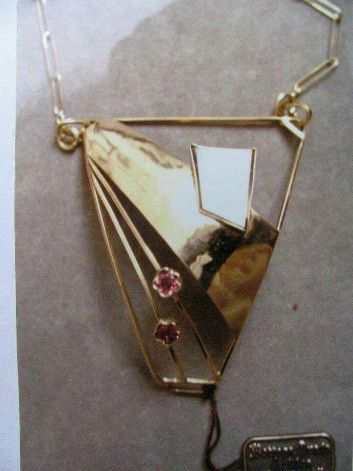 GIà DI CLIENTE DAL 1996 circa  Parte davanti di Perizoma in Oro con 2 Tormaline Rosa e quarzo rutilato P.U. (Già Venduto) ideato da Pietro Crestan - Oreficeria Celtica