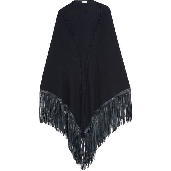 Babjades Leather-fringed cashmere wrap ($1,035) ❤ liked on Polyvore featuring accessories, scarves, navy, long shawl, cashmere wrap shawl, cashmere shawl, navy scarves and leather shawl