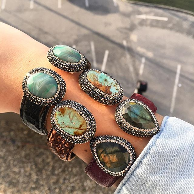 So #chic  #modern #designer #gem & #crystal #leather #cuff #bracelets #handmade #druzy #jewelry from #istanbul by #gbj1455 #gorgeous #agate #beautiful #labradorite #natural #turquoise