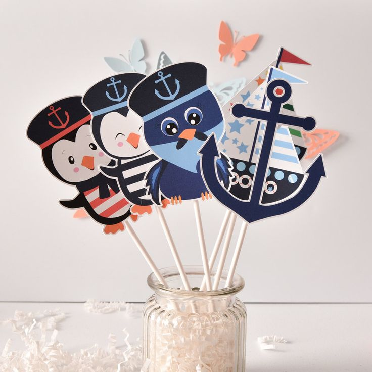 6 Nautical Centerpiece, Nautical Decorations, Nautical Party Decorations, Nautical Birthday Decor, Nautical Penguins Party by ArtPaperWonders on Etsy
