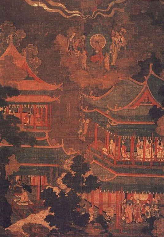 A Koryo/Goryo painting depicting the Imperial Palace. |  Built in 919 AD during the Koryo (or Goryo) dynasty under King Taejo (877-943 AD), the palace was moon-shaped—curved to fit into the natural environment without damaging or greatly altering the landscape.