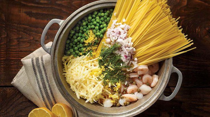 Pâtes Alfredo aux crevettes (one pot pasta)