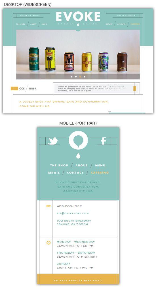 Responsive web design example: Café Evoke