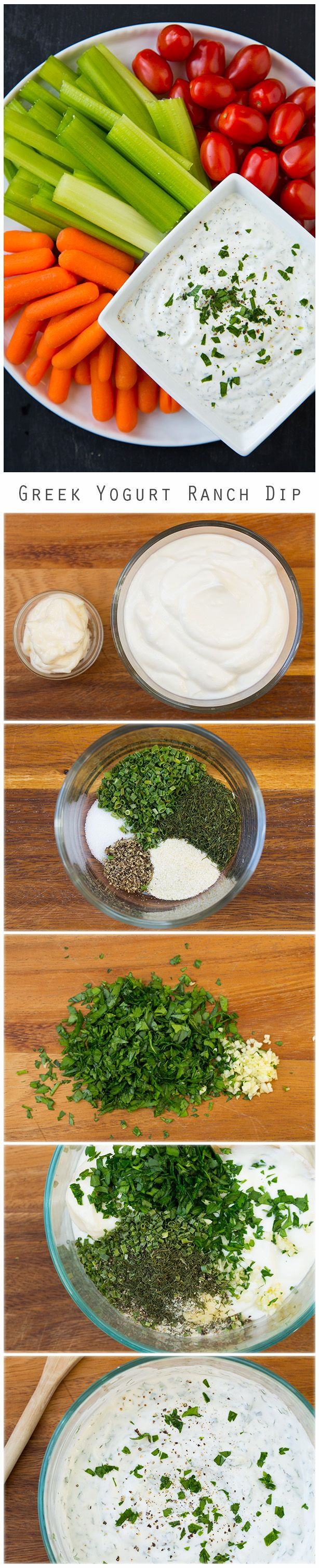 Lighter Greek Yogurt Ranch Dip - this is much lighter than a ranch dip but tastes equally as good if not better! It's my new favorite veggie dip!! I seriously could not stop eating it.