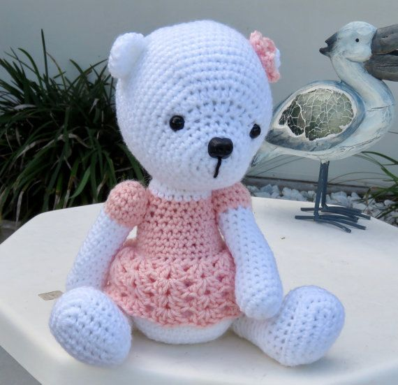 Teddy Bear with Pink Dress and Flower  Teddy by TheBabyCrowTwo