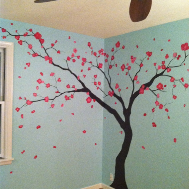 39 best wall art images on pinterest babies rooms baby for Cherry tree mural