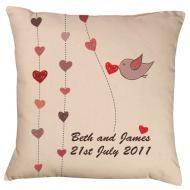 Hearts & Bird Wedding Cushion the perfect gift