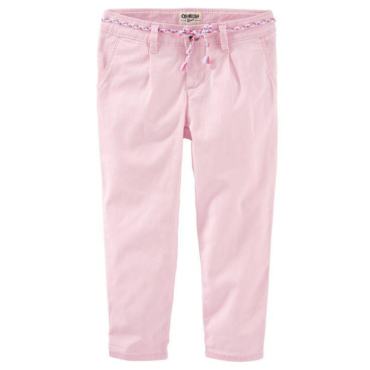 Toddler Girl OshKosh B'gosh® Slim Slouch Stretch Twill Pants, Size: 3T, Pink