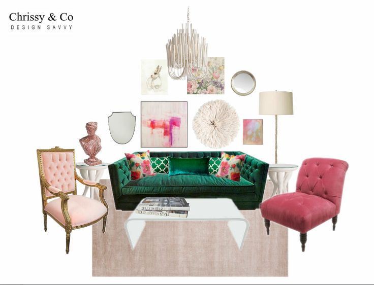 Client Conceptual: Design By Chrissy & Co Design Savvy. Green tufted sofa, gallery wall, pink accent chairs.