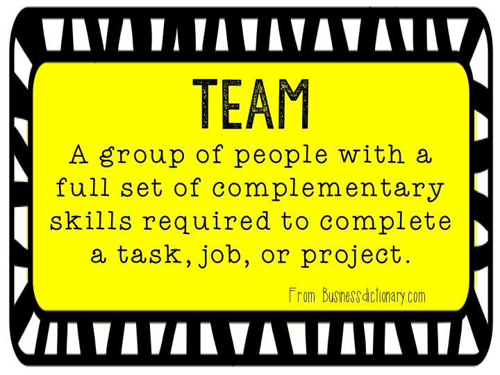 "Team building:  What does team mean to you?  Have you heard some version of one of the the following statements in the teachers lounge or work room? ""I wished I worked on a team that worked together more."" ""My team doesn't know the meaning of the word collaborate.""  Read more about teams!"
