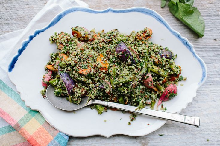 Spring Tabbouleh with Green Harissa, YearInFood (quinoa, asparagus ...