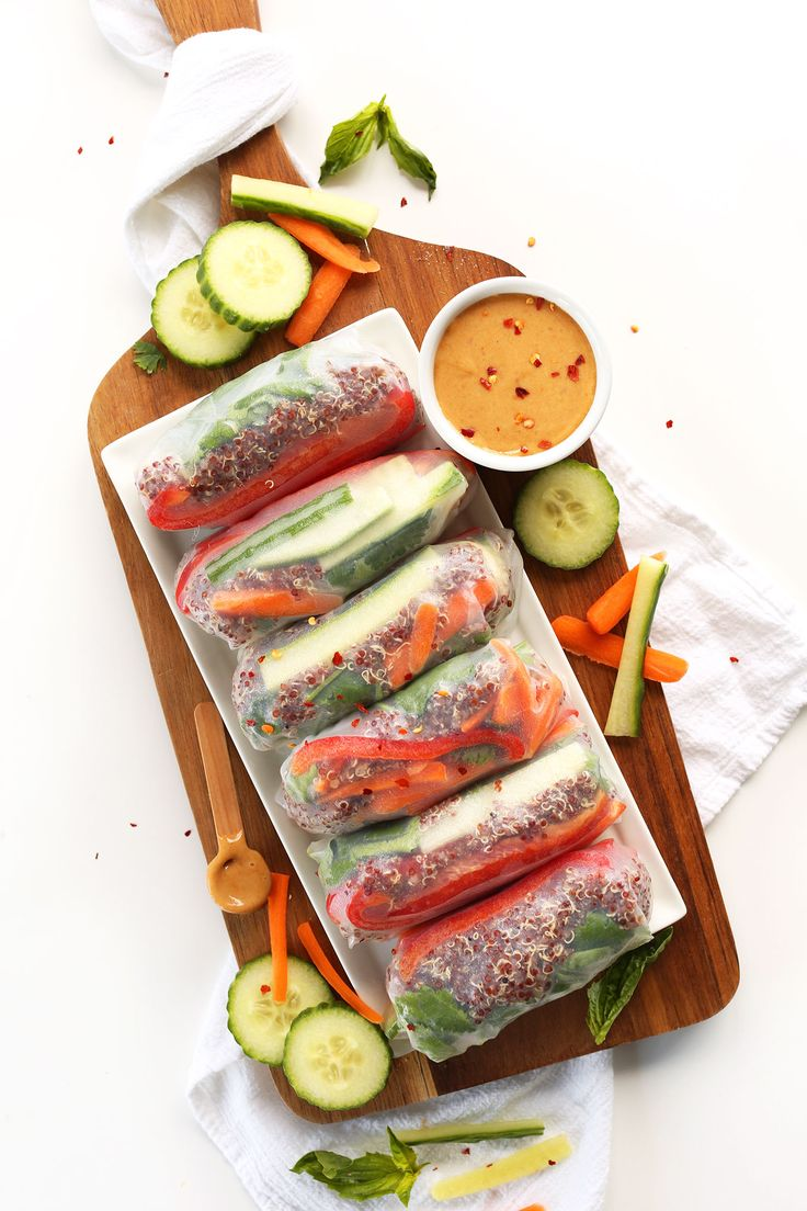 30-minute quinoa spring rolls with fresh vegetables and herbs, and a simple cashew dipping sauce! A healthy, simple vegan and gluten free meal.
