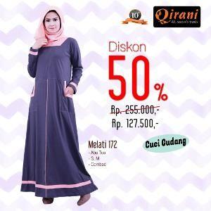 Baju Gamis Qirani QD 172 Abu - Ramadhan Sale