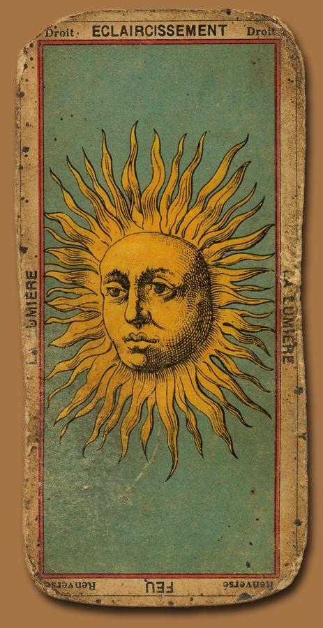 La Lumiere. French Tarot card with sun.