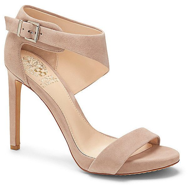 Vince Camuto Sandia- Tapered Strap High Heel Sandal ($139) ❤ liked on Polyvore featuring shoes, sandals, heels, impossibly p true suede, black strappy sandals, strappy high heel sandals, platform heel sandals, high heel shoes and platform sandals