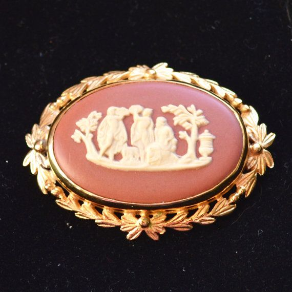 Vintage Wedgwood Jasper Plaque Brooch  Gold Plated  Rare by TeaJay