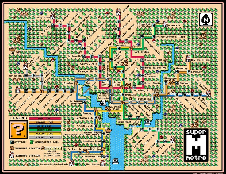 DC Metro Map in the style of Mario 3 World Map Style