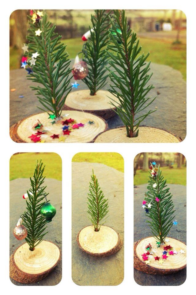 Little Christmas trees from a ting evergreen twig and a wood slice