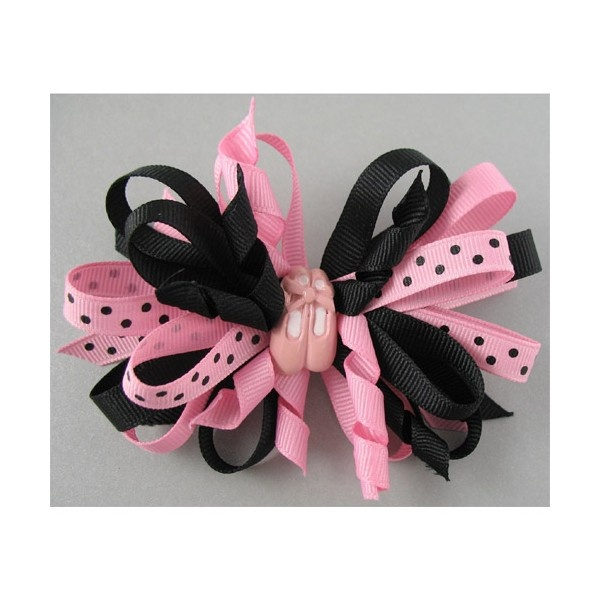 Dotted Mixed Ribbon Bow Barrette