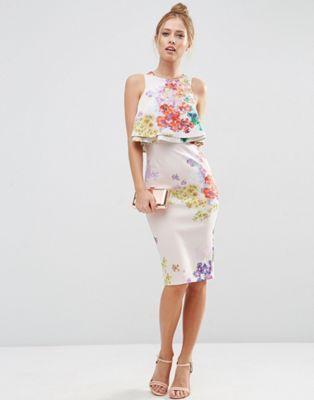 ASOS Double Ruffle Floral Crop Top Midi Pencil Dress