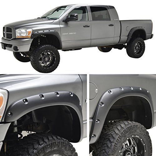 E-Autogrilles Rivet Style Bolt on Pocket Fender Flares for 02-08 Dodge Ram 1500 / 03-09 Dodge Ram 2500/3500 HD. For product info go to:  https://www.caraccessoriesonlinemarket.com/e-autogrilles-rivet-style-bolt-on-pocket-fender-flares-for-02-08-dodge-ram-1500-03-09-dodge-ram-25003500-hd/