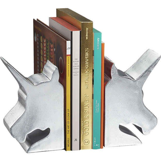 Unicorn bookends to keep your reading material in an upright position.