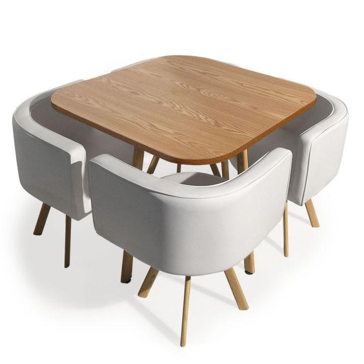 Mesa con 4 sillas nórdicas Oslo 90, roble y blanco - Menzzo.es