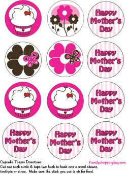printable mother 39 s day cupcake toppers party decorations printables mothers day cupcakes. Black Bedroom Furniture Sets. Home Design Ideas