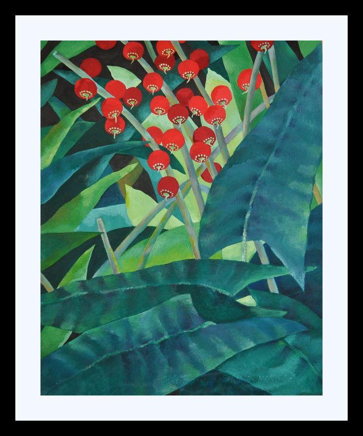 Seidelbast гуашь, цветная бумага /Gouache, farbiges Papier 30х20 1997 Available