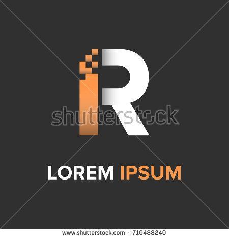 R Letter pixel logo vector. Logo design template eps.10