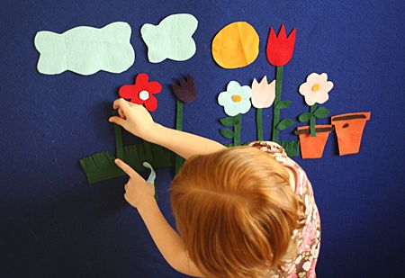 Roll-Down Felt Boards over toy/bookshelves for storytelling?  Attach to the floor with velcro strips. (Note: could be bulky on top of shelf if left rolled there all the time...make it detachable?)