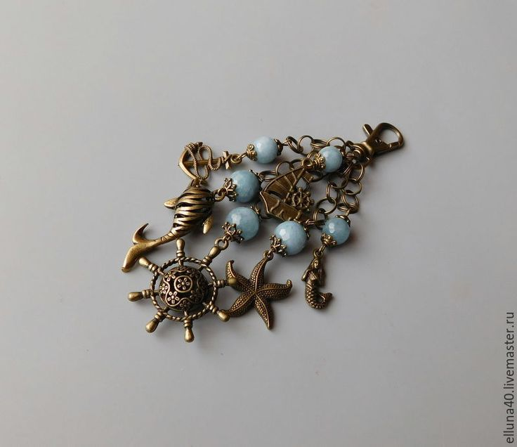 """Купить Брелок для ключей """"Морской круиз"""" - голубой, однотонный, брелок, брелок для ключей, брелок на сумку"""