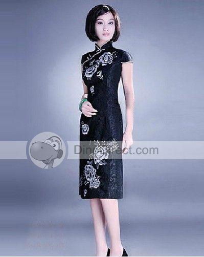 Cotton Short Sleeve Embroidery Women Cheongsam