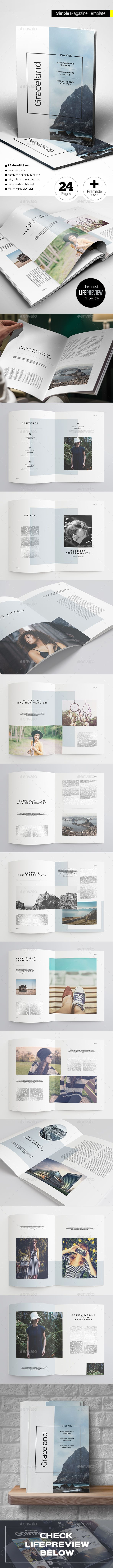 Simple Magazine Template InDesign INDD. Download here: https://graphicriver.net/item/simple-magazine/17182438?ref=ksioks
