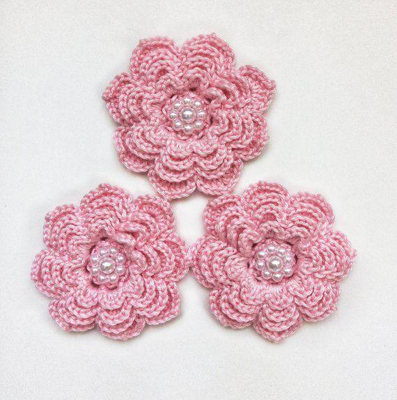 3pcs Fuchsia PINK 3D Crochet Bell Flowers with stamens APPLIQUE