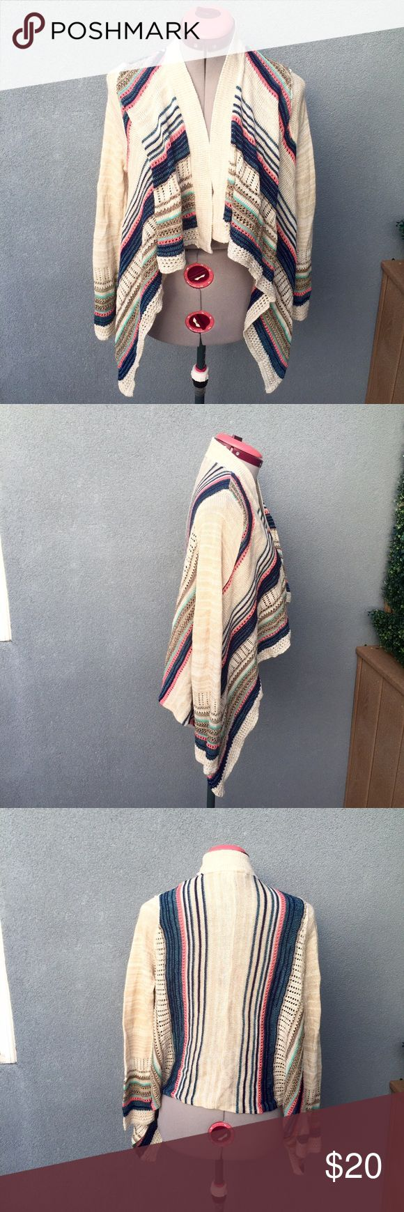 Colorful Striped Waterfall Cardigan Colorful Striped Waterfall Cardigan | 100% Acrylic Say What? Sweaters Cardigans